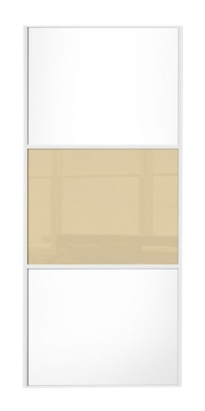 Wideline sliding wardrobe door, White frame, White-Cream-White